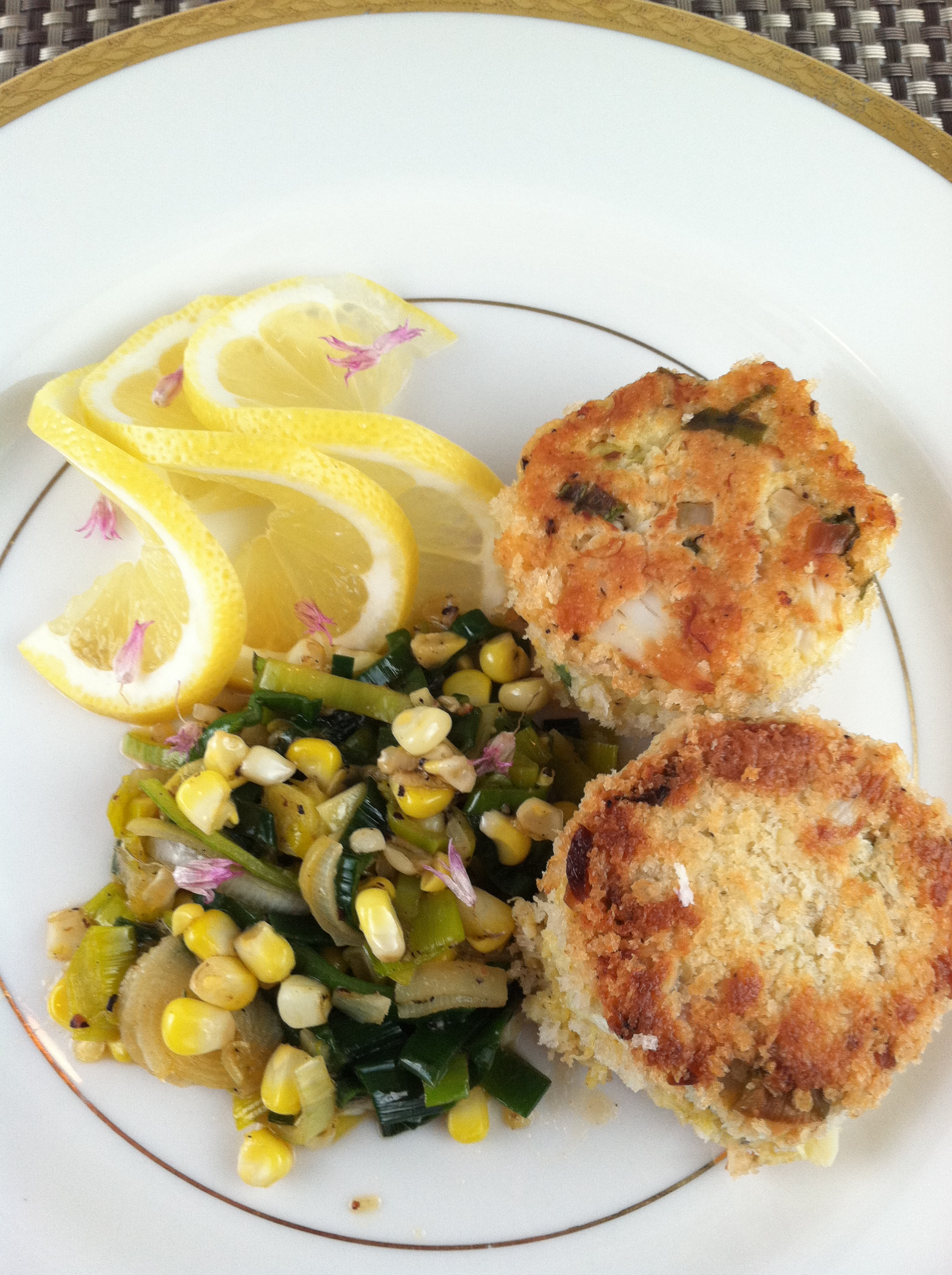 Crab Cakes With Leeks And Corn Spoon Feast