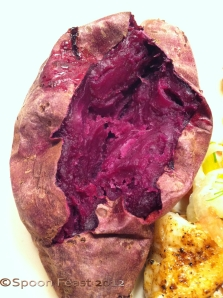 Inside a baked garnet sweet potato; isn't that a great color?!