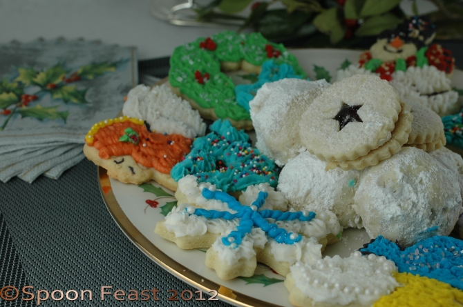 A festive plate of Christmas Cookies