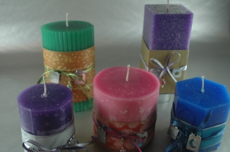 We made these candles last year for my son's girlfriends mother.