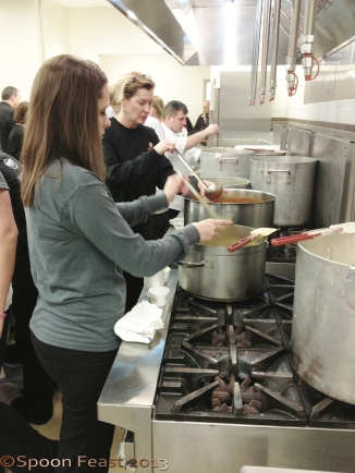 Serving soup, they stay busy with those 2 oz ladles!