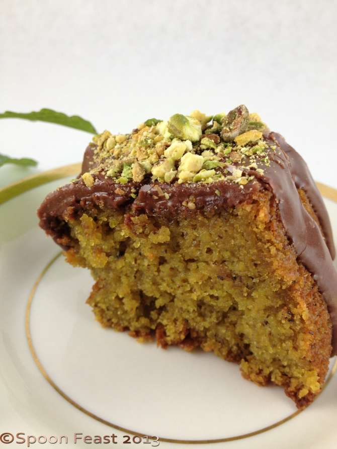 Pistachio cake with chocolate fondant and toasted chopped pistachios