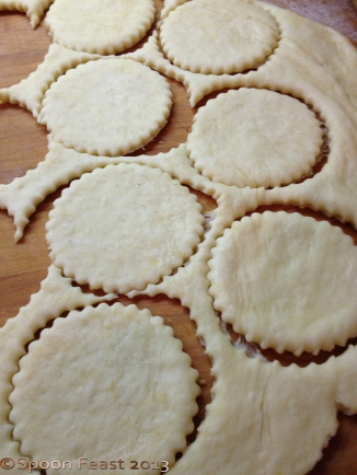 Roll out the dough and cut circles (3 or 4 inches)