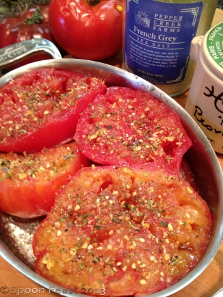 Seasoned, ready to roast tomatoes