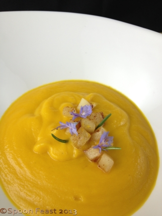 Butternut Squash Soup with Sauteed Apples and Rosemary Flowers