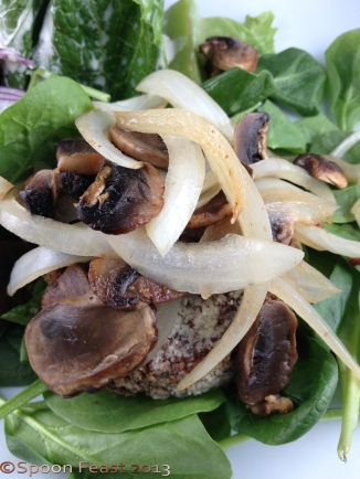 Bean Burger topped with sauteed onions and mushrooms