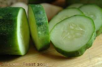 """Slice the cukes 1/4"""" thick"""
