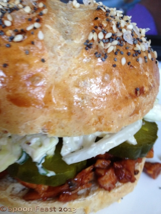 BBQ Chicken Sandwich on a Sandwich Roll with Cabbage and Kale Slaw and Sweet Pickle Chips
