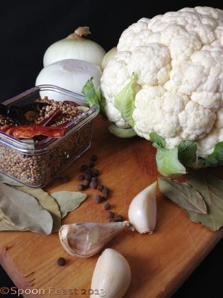 Pickled cauliflower ingredients