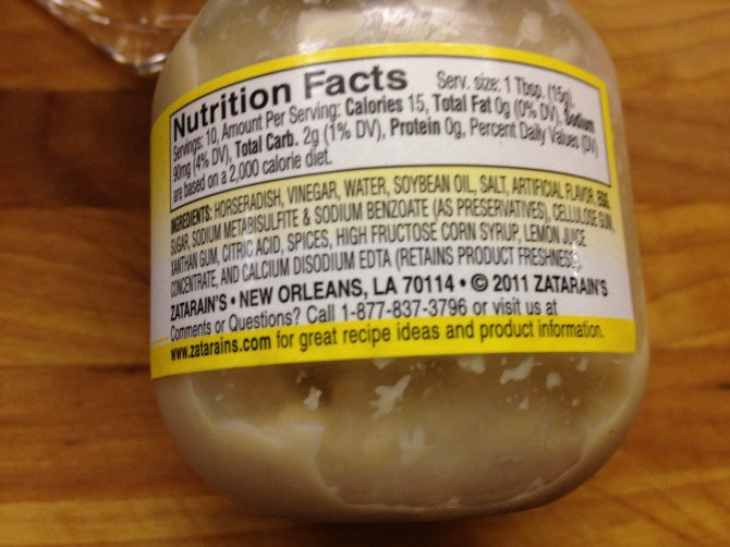 Label of commercially prepared horseradish