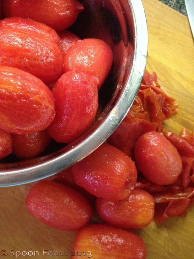 Slip the skins off the tomatoes, cut and squeeze out the seeds.