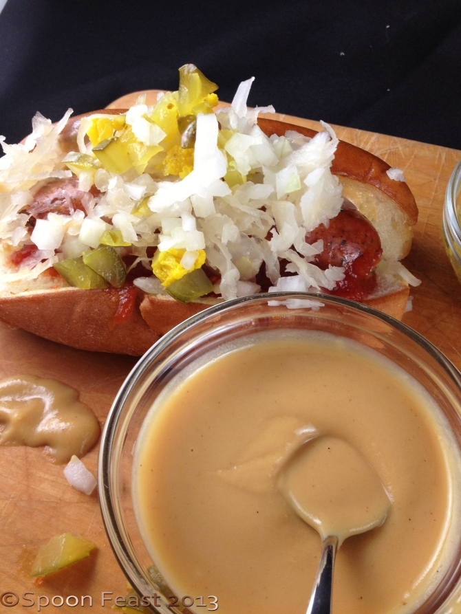 Decorate your hot dog the homemade mustard
