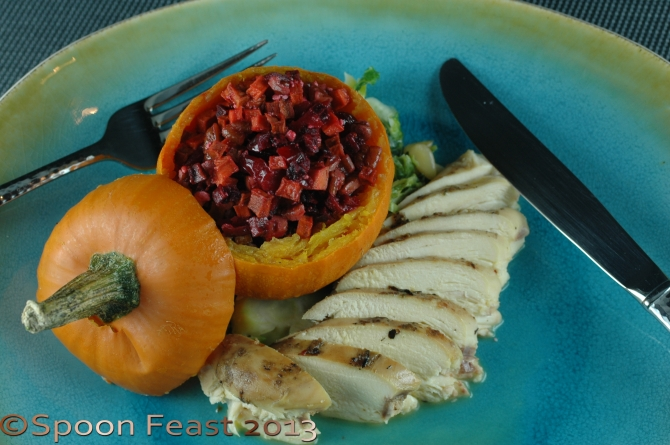 Plated stuffed mini pumpkin