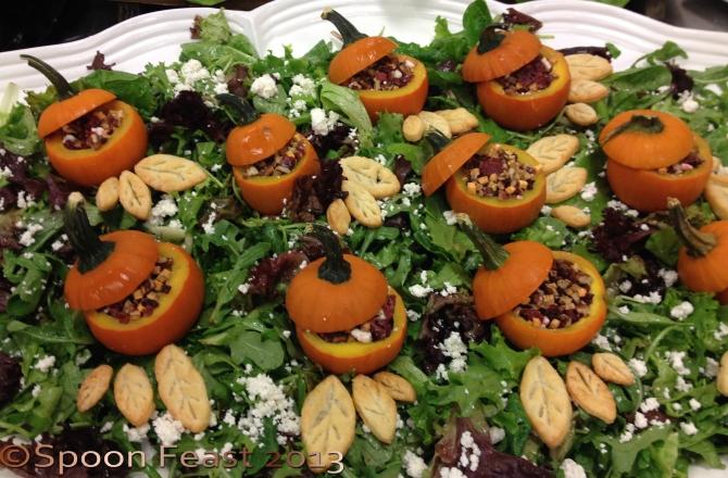 "Serve stuffed mini pumpkins on a platter, think ""Pumpkin Patch"""