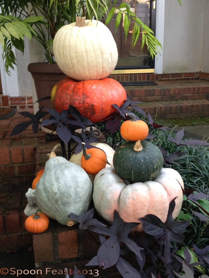 Stacked Pumpkins on the step