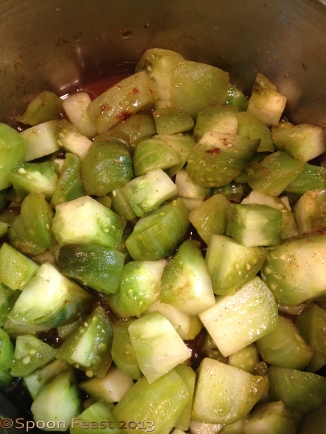 Chopped Green Tomatoes simmering for pie filling