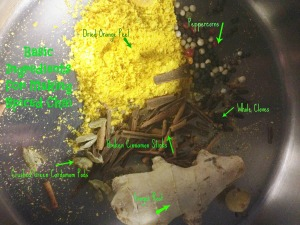 Gather these things to make Chai. include black tea or burdock root or another herb if you prefer.