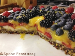 Nut crusted Fruit Tart with Mango Puree