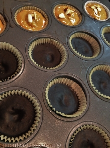 Use mini-muffin tins. Fill cups half way with chocolate mixture
